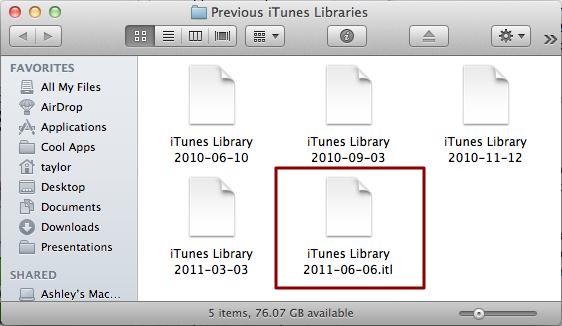 mac older version itunes library error 4
