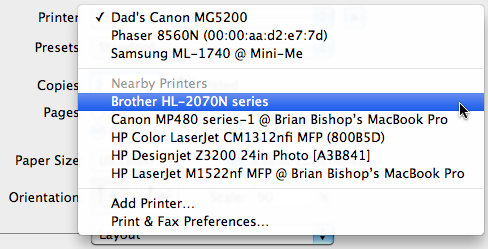 how can i print to nearby printer from my mac ask dave taylor