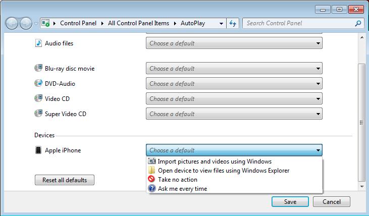Stop Windows importing my iPhone photos?
