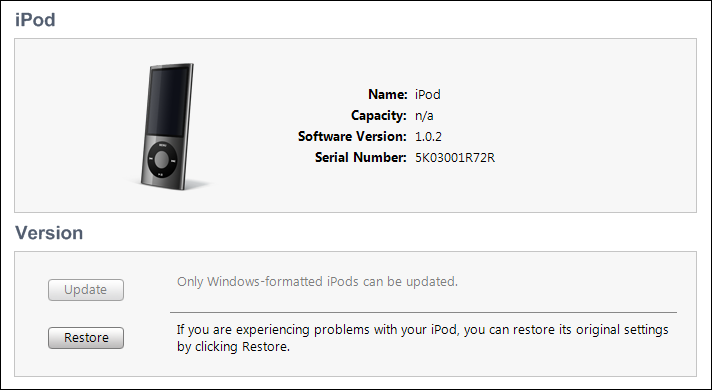 windows 7 ipod reformat itunes 6