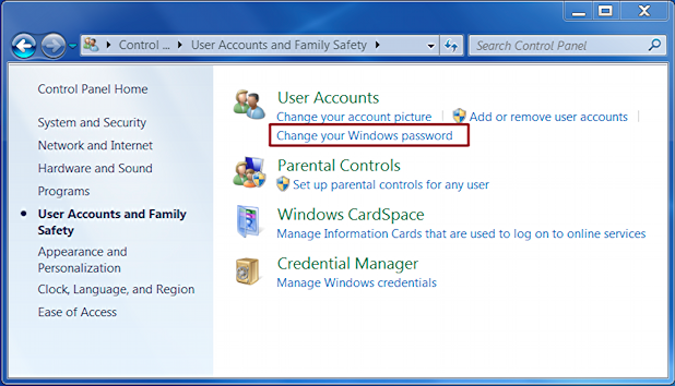 how to change my password windows 8