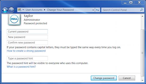 how to change user account password in windows 7
