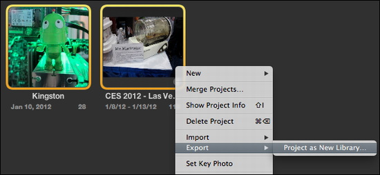 aperture export as new project