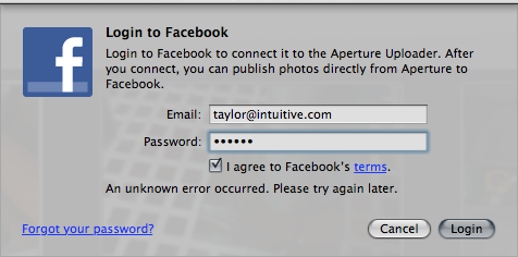 aperture fails facebook login sms 1