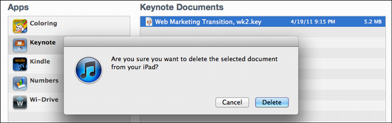ipad delete keynote presentation 3