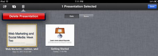 ipad delete keynote presentation 8