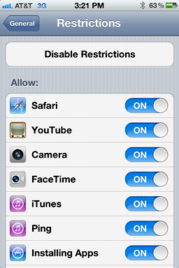 iphone ios user access restrictions 4