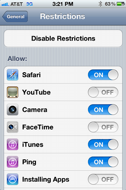 iphone ios user access restrictions 5