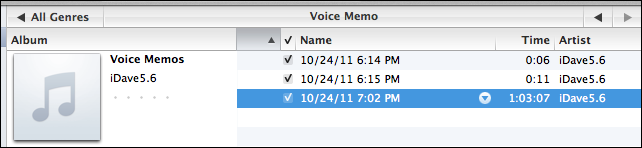 iphone recording voice memos itunes