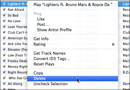 itunes remove tunes not sync 4