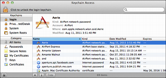 keychain access recover passwd 1