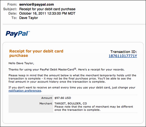 email transaction receipts for my paypal debit card ask dave taylor