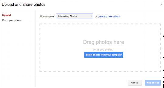 picasa google photos upload embed 2