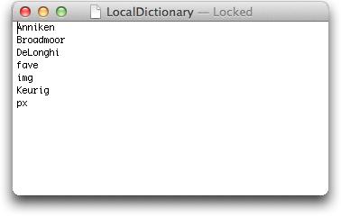 textedit mac localdictionary 1