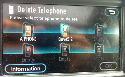 toyota navsys bluetooth delete phone 5
