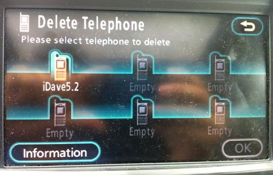 toyota navsys bluetooth delete phone 8