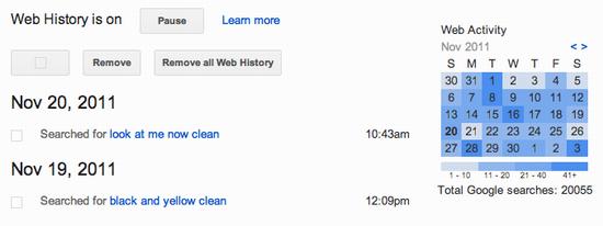 delete google search history 5