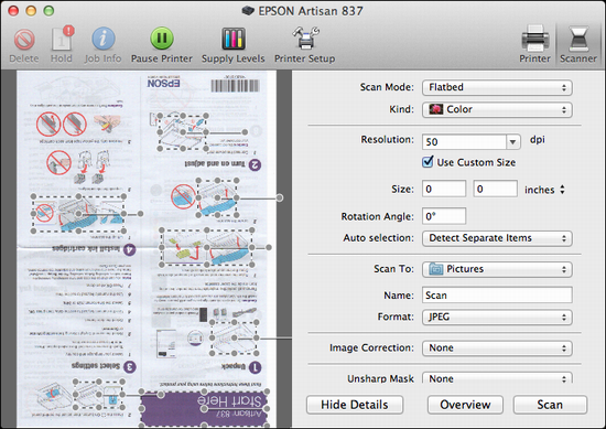 epson artisan 837 scan 2