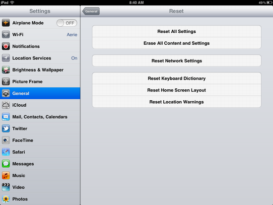ipad wipe reset clear 3