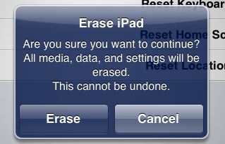 ipad wipe reset clear 6