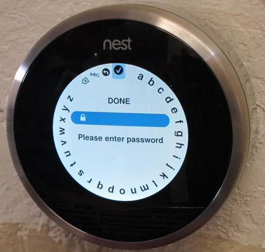 nest labs thermostat entering wifi password