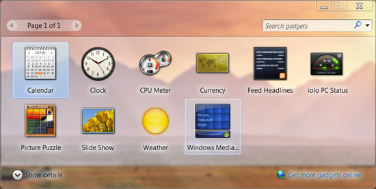 win7 add clock gadget widget 2