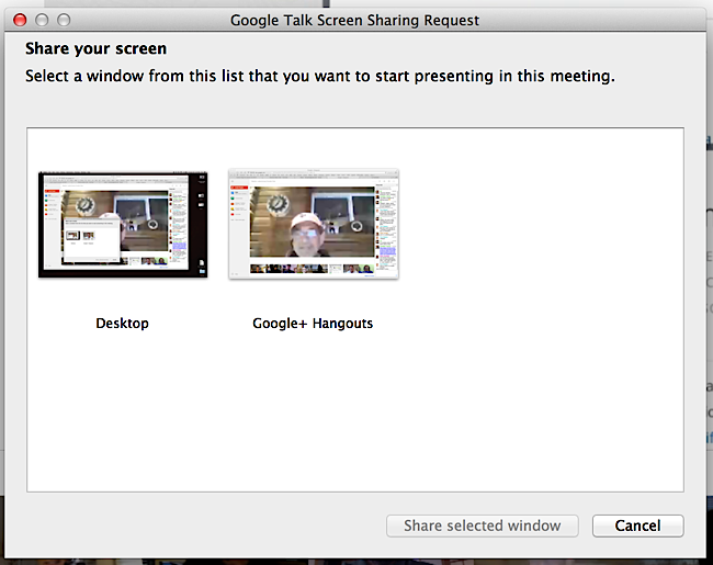 how to share screen on hangout call