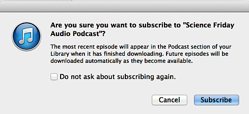 subscribe to podcast in iTunes 11