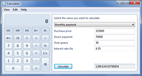 Down Payment Calculator >> Advanced Mortgage Calculator In Windows 7 Ask Dave Taylor