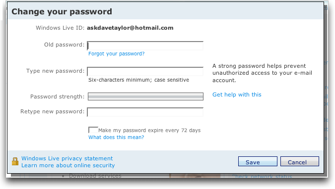 how to change password on pozible
