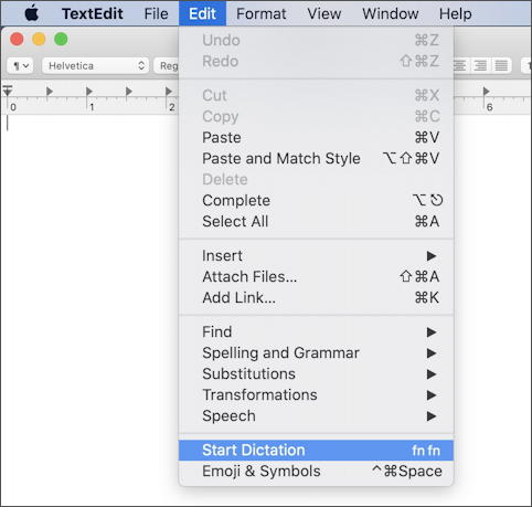 macos x dictation siri - textedit edit menu