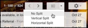 gmail split pane mailbox layout options