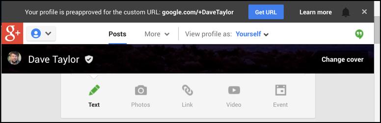 google plus custom url invite
