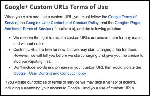 google plus custom url terms of service