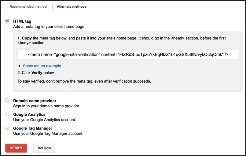 verify ownership webmaster tools
