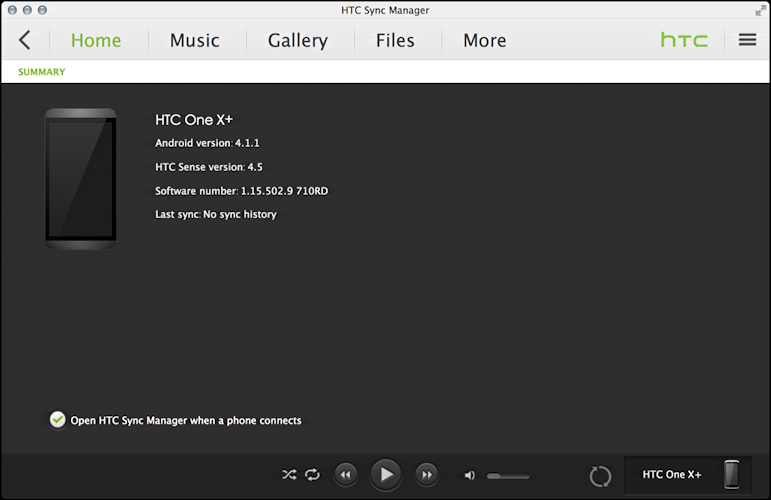 HTC One Sync Manager on a MacBook