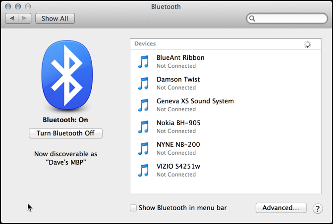 list of bluetooth devices in Mac OS X Maverick