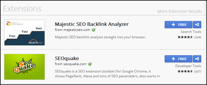 chrome seo toolbars extensions