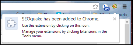 extension toolbar added to google chrome