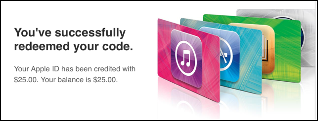 successfully redeemed apple itunes store gift code