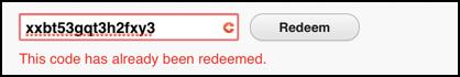 itunes gift card has already been redeemed error message