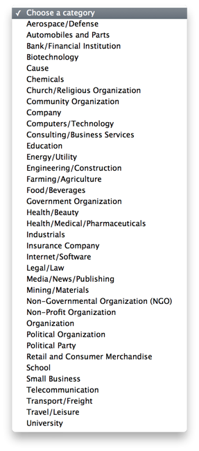 facebook business categories