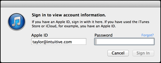 log in to your itunes account