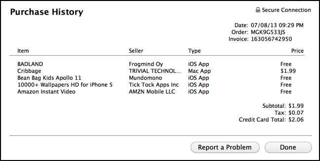 detailed itunes store transaction receipt