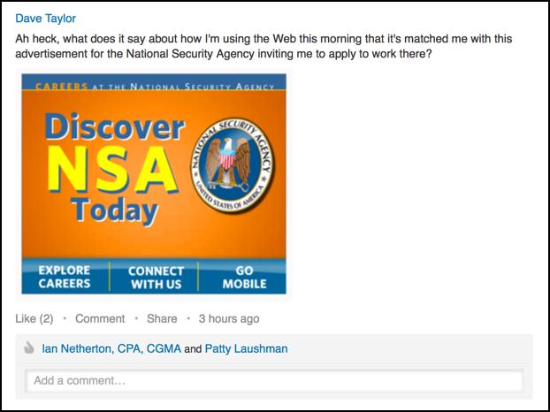 linkedin status update with NSA advert photo