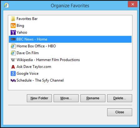 organize favorites windows 8 web browser