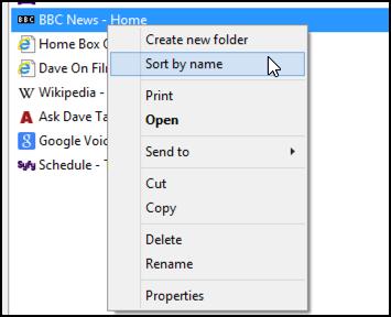 sort internet explorer favorites by name