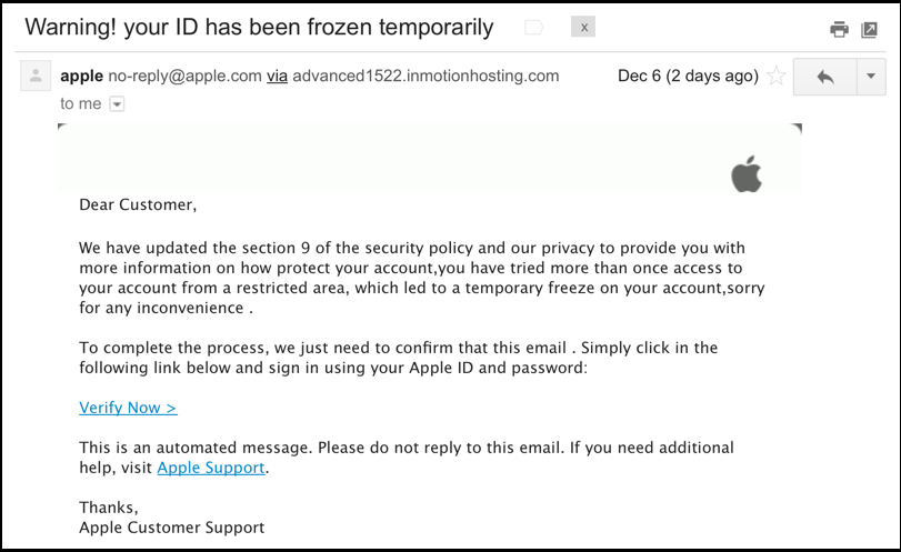 Apple ID frozen account scam