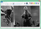 godzilla destroys tokyo in ms windows paint