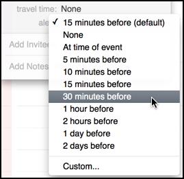 lots of alert timing options